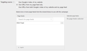dynamic search ads settings page feed