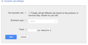 Adwords dynamic ads settings