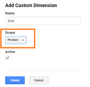 product scoped custom dimension