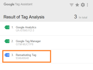 remarketing google tag assistant