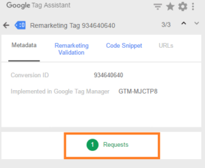 remarketing tag google tag assistant