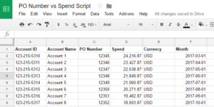 po number script vs spend